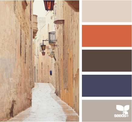 street tones---similar to my wedding colors (burnt orange, cobalt blue, chocolate brown)