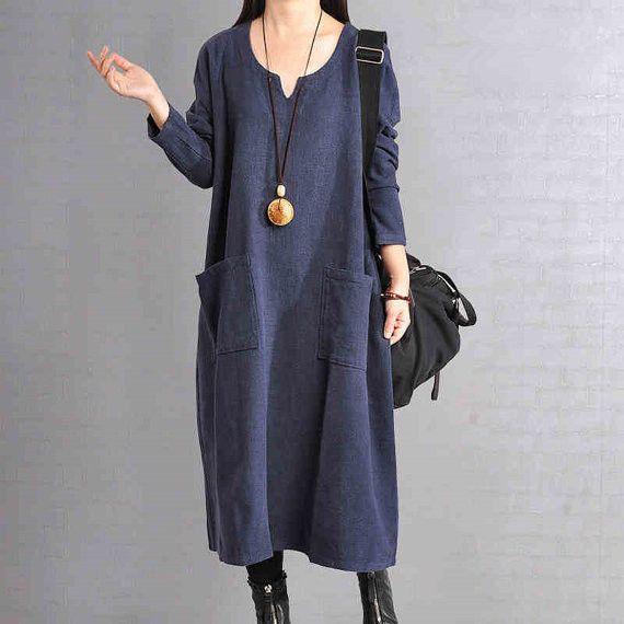 Cotton  Linen Dress Loose Dress Long Sleeve Dress - Buykud - 1