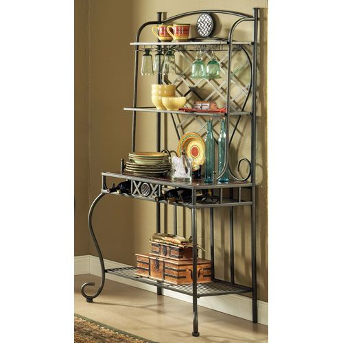 Steve Silver Company Hamlyn Marble Top Bakers Rack Bakers Rack And Kitchen Dining