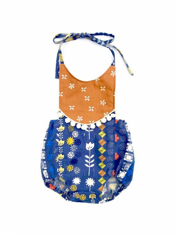 efdf22733e71 Southwestern Print Stamp Boho Romper Baby Girl or Toddler Girl Outfit  Birthday Cake Smash Baby Shower Gift Cactus Flowers