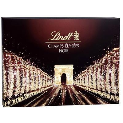 Lindt propose également son célèbre coffrets en version chocolat noir, le packaging change alors de couleur et opte pour un brun/noir afin de notifier au consommateur la variation de saveur.