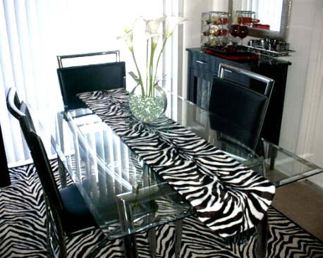 Zebra Table Runner...  Luxurious Faux Fur Table Runners.  $74. - $59.