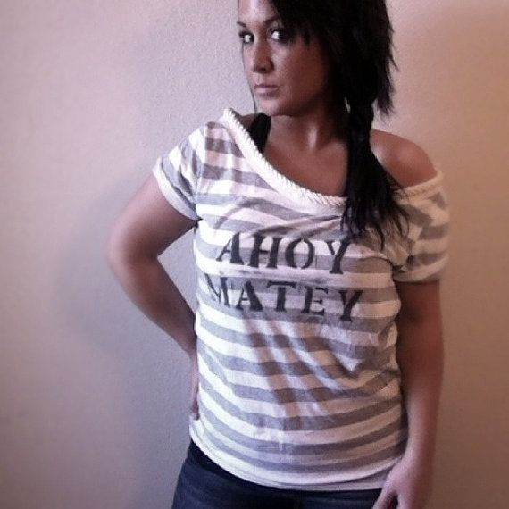 Nautical Off Shoulder Ahoy Matey Rope Neckline by pebbyforevee, $28.00 free shipping!: Off Shoulder