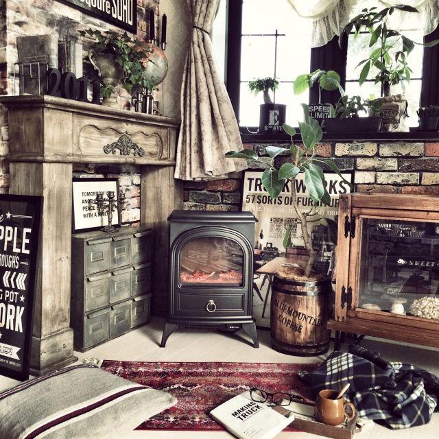 クラシックMIX/男前/暖炉型ファンヒーター/ブリキドロワー/ガラスパンケースDIY…などのインテリア実例 - 2015-01-11 08:57:38   RoomClip(ルームクリップ)