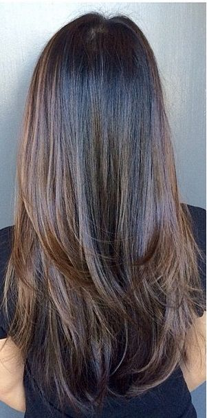 Straight Long Chocolate-Brown Hair with Heavy Bottom Layering