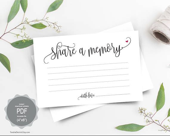 Share A Memory Card Instant Download Editable Pdf Template Memorial Funeral Memory Card Keepsake Memorial Cards For Funeral Memorial Cards Memories
