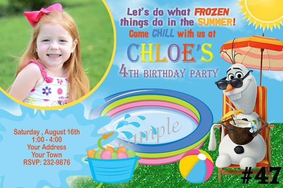 20 Disney Frozen Invitation - SUMMER Pool Party Birthday Invitations - (includes envelopes)  Frozen Invitation on Etsy, $20.00