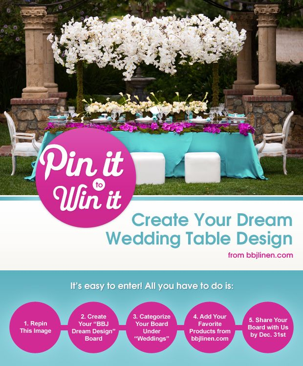 BBJ is giving away $200 worth of linens in their Pin It to Win It contest, and we absolutely had to let our favorite people in on the scoop! Check it out here…Linen Rentals By / http://bbjlinen.com