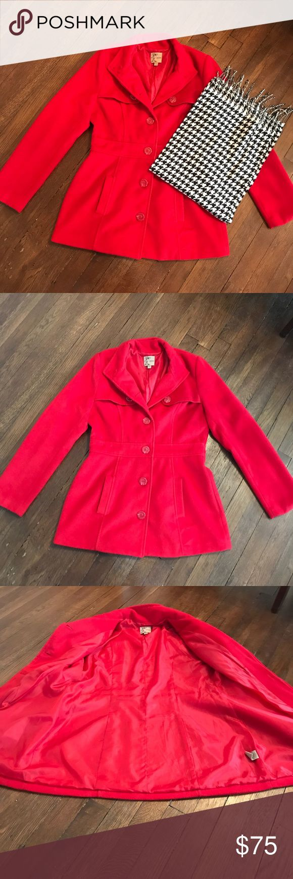 Red Pea Coat Beautiful and soft red pea coat. Single buttons up the center. No signs of wear. mine Jackets & Coats Pea Coats