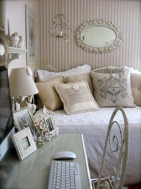 Shabby Chic   Ideas For Home Office/guest Room   Love The Day Bed And Desk,  Wallpaper. This Is My Absolute Favorite Color Combination And Office Ideas,  ...