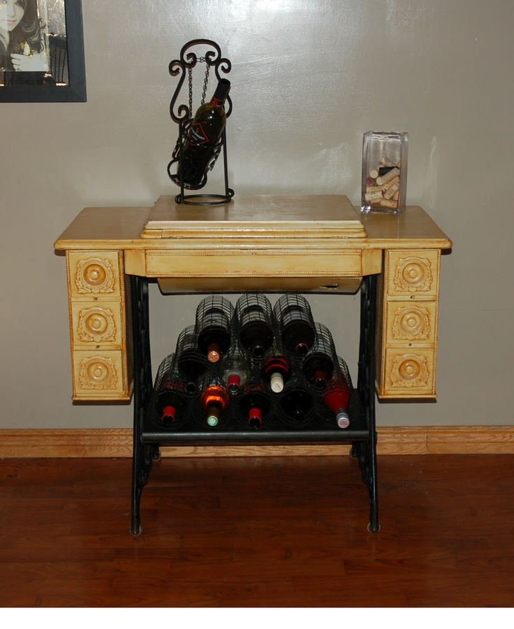 Old Sewing Machine Cabinet Wine Rack Artsy Craftsy