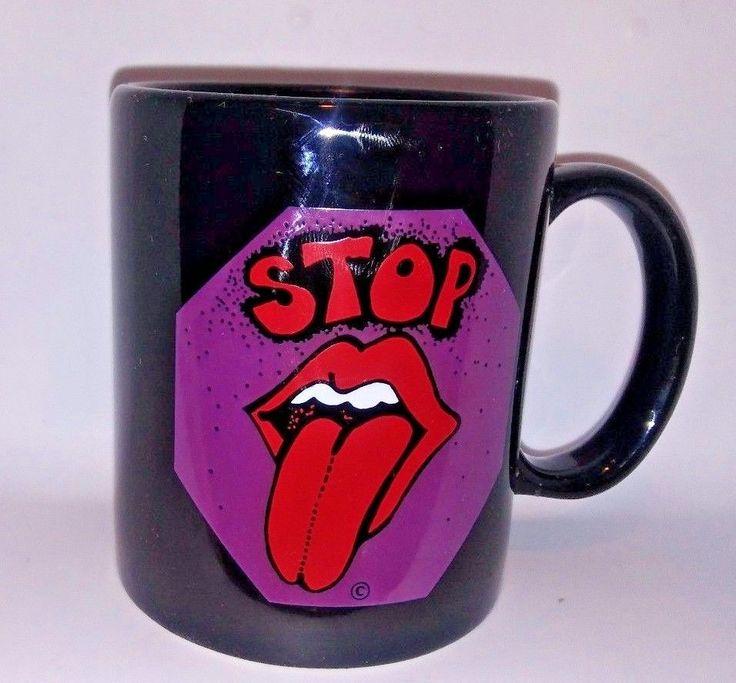 VTG Rolling Stones Coffee Mug Stop Sign Tongue Logo 19th Nervous Breakdown
