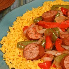 Spicy Yellow Rice and Smoked Sausage - Just 30-minutes turns  Hillshire Farm<sup>®</sup> Turkey Smoked Sausage into a spicy, hearty Spanish inspired meal.