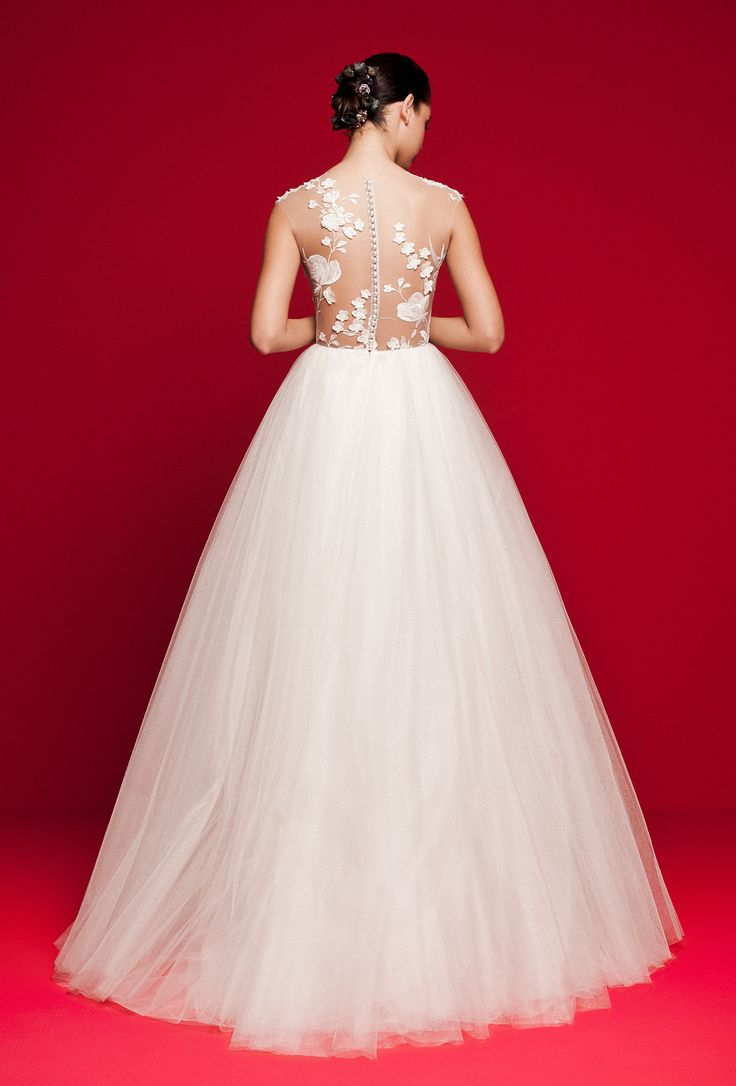 LVS 341 Shiny lace blossom on illusion tulle with heart shape lining and crystal tulle skirt