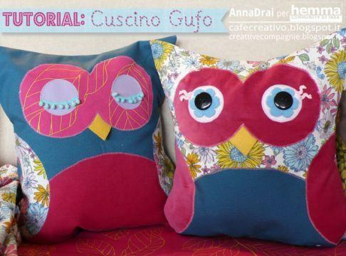 Hemma Ikea - DIY – Creare con i tessili: i morbidi gufi di Anna autrice del blog Cafe Creativo (http://cafecreativo.blogspot.com/)