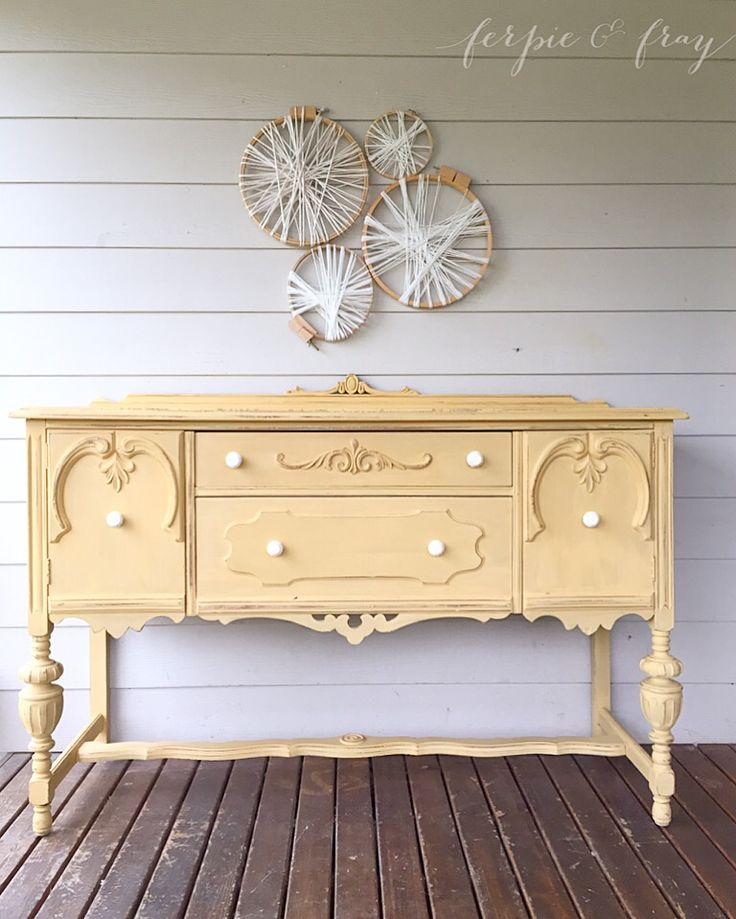 Buffet painted by Amanda of Ferpie and Fray in Miss Mustard Seeds, Mustard Seed Yellow