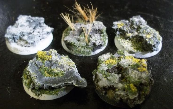 An Easy Guide to Advanced Basing Techniques  Warhammer 40k Articles fantasy DnD d&d base mini miniature guide easy DIY simple expert master class directions steps doll house, fairy garden, 28mm, war game, wargaming, terrain, rock, stone, pillar, lava, grass, flock, glue,