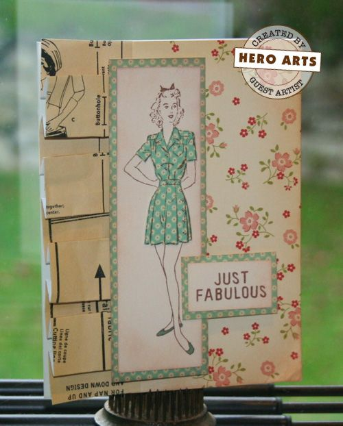 Hero Arts Cardmaking Idea: Just Fabulous: Cards Costura, Scrapbooking Cards, Art Cardmaking, Collage Cards, Cardmaking Sewing, Patterns Cards, Cardmaking Ideas, 1A5 Cardmaking, Cards Seamstress