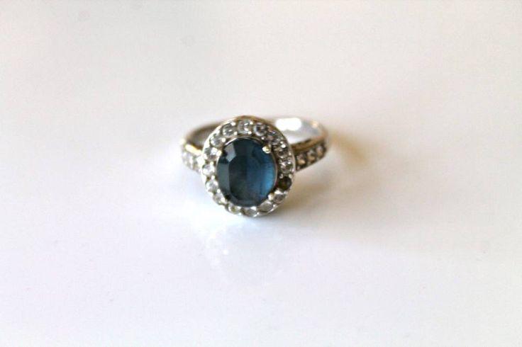 vintage sterling silver imitation sapphire ring - SEPTEMBER birth stone rhinestone / size 9 by MsTips on Etsy https://www.etsy.com/listing/515696957/vintage-sterling-silver-imitation