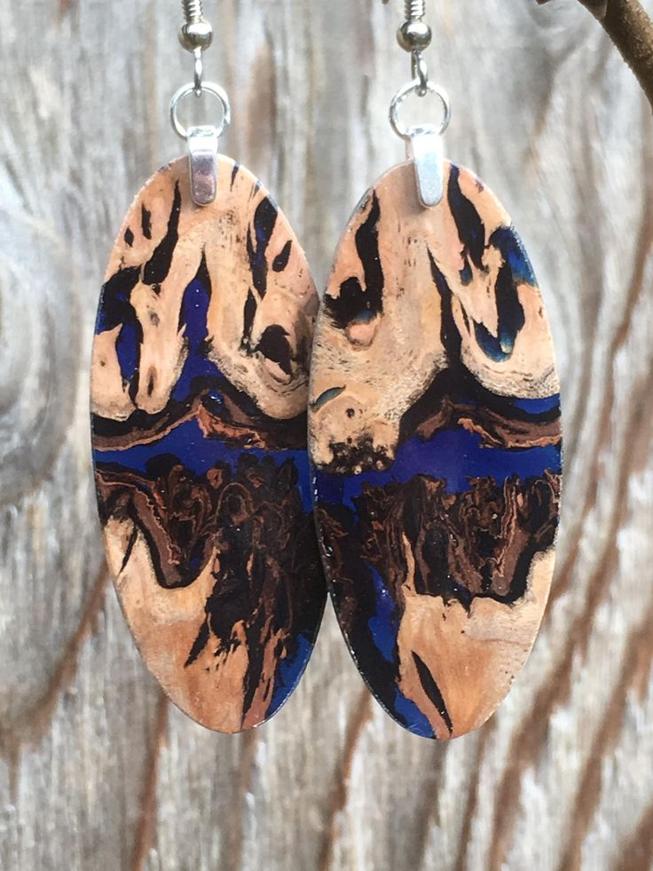 Super Pepper Tree Burl And Blue Resin Earrings by forestlifecreations on Etsy