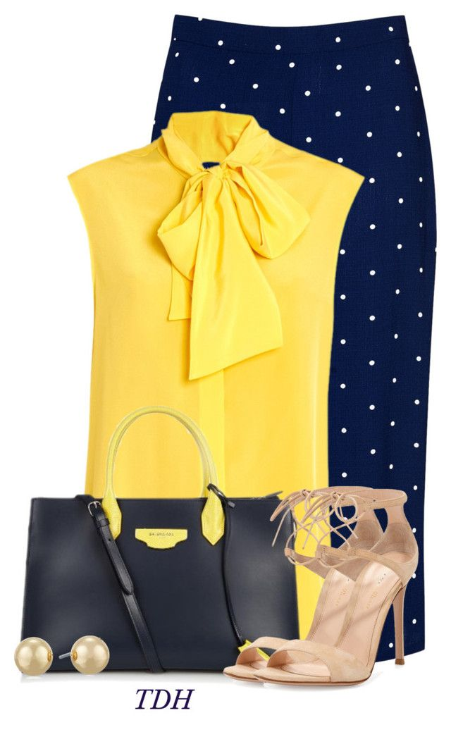 Navy Polka Dot Skirt by talvadh on Polyvore featuring polyvore, fashion, style, Moschino, Glamorous, Gianvito Rossi, Balenciaga, Napier and clothing