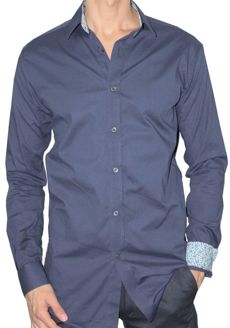 Camisa Casual Ultra Slim Elástica Bernard Azul Oscuro