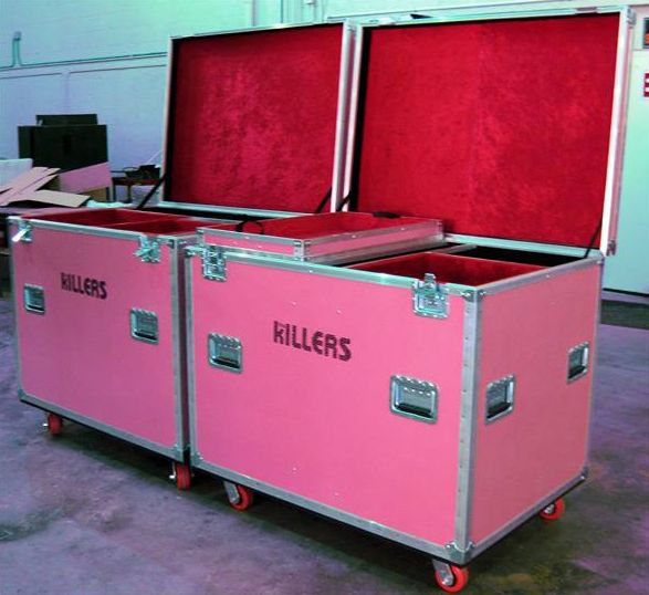 The Killers' new 2014 drum cases....they look like they've come from the Hot Fuss era!
