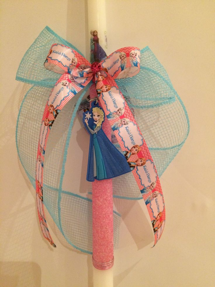 frozen easter candle please message me for this design  http://www.bonanza.com/listings/Greek-Easter-Candles-elsa-and-anna-easter-candle-pascha-Lambades/322823305