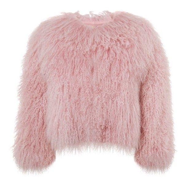 Women's Charlotte Simone 'Classic Fuzz' Genuine Mongolian Lamb Fur... found on Polyvore featuring outerwear, jackets, pastel pink, fur bolero jackets, pink bolero, pink bolero jacket, pastel jacket and fur jacket