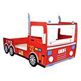 Anself 200 x 90cm Lit Camion de Pompier pour Enfant