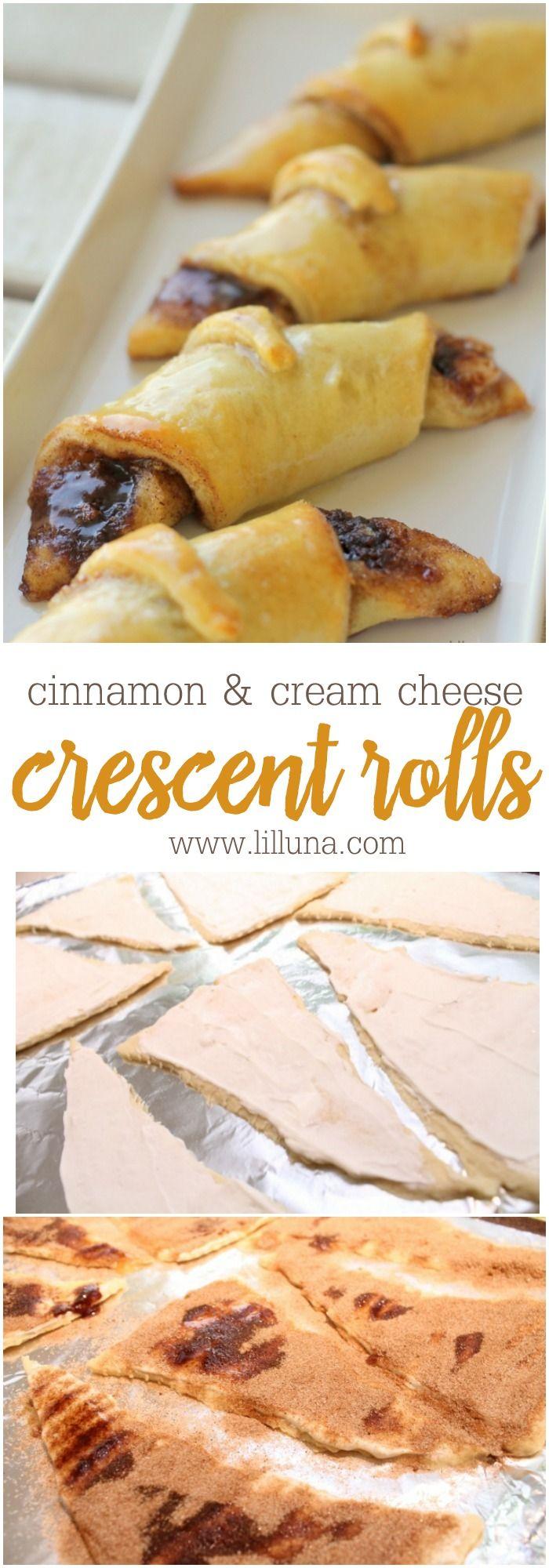 Delicious Glazed Cinnamon and Cream Cheese stuffed Crescent Rolls