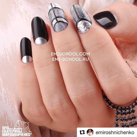 """#Repost @emiroshnichenko with @repostapp ・・・ Черно-серое сочетание подойдёт очень многим девушкам, в чьём гардеробе преобладают серые,белые и чёрные оттенки!  Здесь я добавила не много серебряного #texton и готовые элементы #naildress """"серая этника"""" из новой коллекции. ................................ #EmiManicure #EmiLac #EMi #EmiDesign #manicure #emischool #nailart #nails #gelpolish #instanail #нейлкруст #дизайнногтей #маникюр #nailcrust #гельлак #PRINCOT #GLOSSEMI # #ногти #педикюр ..."""