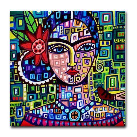 Frida TILEFrida Kahlo Art Mexicaanse volkskunst ceramiektegel gave ACHTBAAN door HeatherGallerArt op Etsy https://www.etsy.com/nl/listing/98705165/frida-tilefrida-kahlo-art-mexicaanse