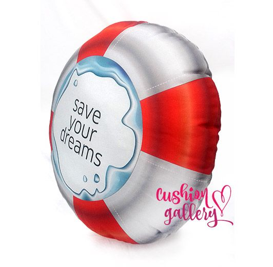 """Save your dreams"" squishy cushion as a buoy."