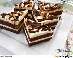 Ořechové trojúhelníky Suroviny:  Korpus: 6 ks vejce 150 g másla (Hera) 150 g moučkového cukru 6 lžic zakysaná smetana 120 g polohrubá mouka 120 g mletých ořechů 4 lžice kakaa 1 lžička prášek do pečiva  Krém: 200 g másla 300 ml mléka 1 vanilkový puding 1 vanilkový cukr 3 lžíce moučkového cukru rum meruňková marmeláda čokoládová poleva nasekané ořechy