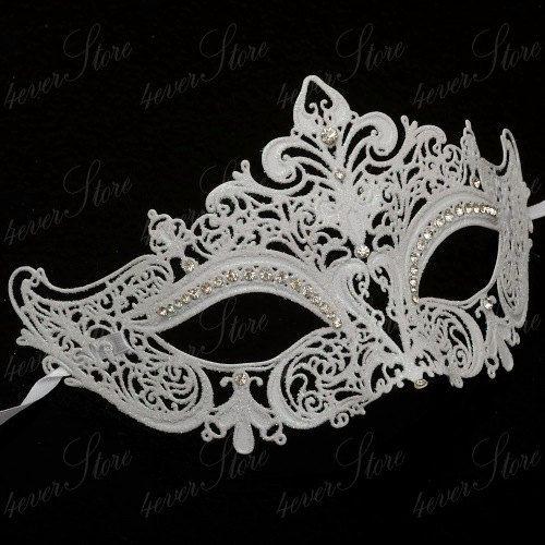 Luxury Snow White Venetian Laser Cut Masquerade Mask with Diamonds - White Masquerade Mask - Wedding Masquerade, Costume, Mardi Gras Mask