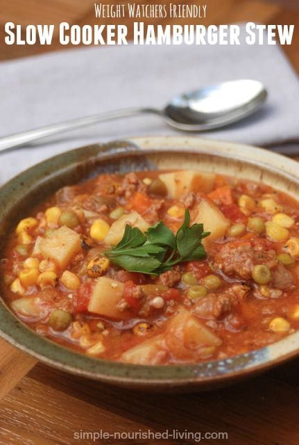 Weight Watchers Slow Cooker Hamburger Stew Recipe, easy hearty delicious family favorite crock pot recipe, 178 calories, 4 Points Plus, 3 SmartPoints