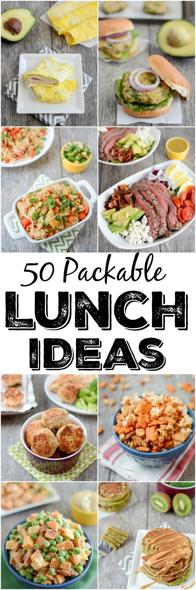 Here are 50 packable lunch ideas that are quick, easy and healthy! Perfect for kids and adults if you're tired of packing the same thing every day!