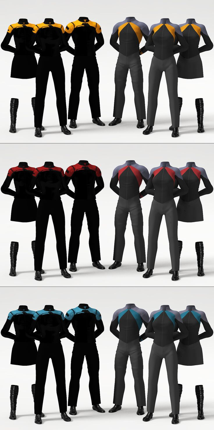 Future concept uniforms. Officers & Crew, male & two female, for each duty color.