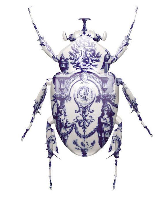 Magnus GjoenMagnusgjoen, Inspiration, Magnus Gjoen, Bugs, Delft Scarab, Delft Blue, White, Artists Magnus, Beetles