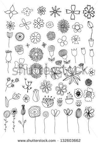 Set of flower doodles – kaufen Sie dieses stock-…