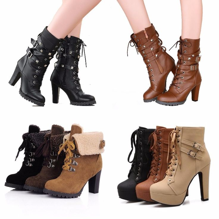 #Sexy lace up ankle #boots. #shoes #heels #fashion