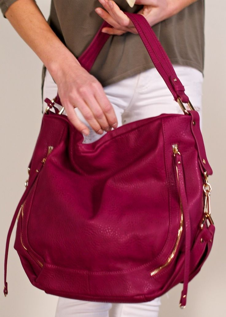 Urban Expressions Jessie hobo; raspberry vegan leather hobo bag, pebbled faux leather handbag, raspberry faux leather handbag featuring polished gold tone hardware & exterior zippered compartments on front & bag, hobo handbag with a wide top handle & long cross body, the perfect hobo bag for everyday wear
