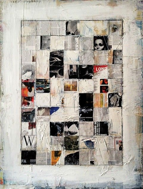 """""""Thompson underlays his paintings with pieces of newspapers, magazines, and other printed material that take on new meaning in his oil and acrylic mosaics. In a recent untitled piece, he squeezes in truncated black-and-white word fragments like """"rt"""" and """"ike"""" and """"ces,"""" complementing the works' elliptical shading and giving it an appealing level of mystery."""""""