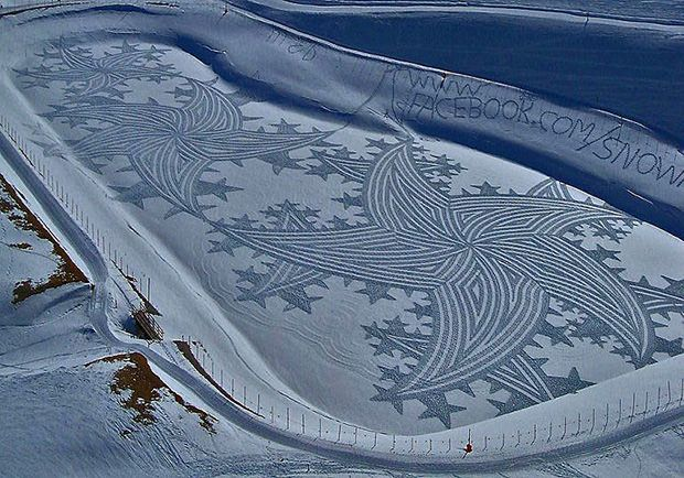 Artist Simon Beck needed a way to get exercise without aggravating his problematic feet, and discovered that walking around in the snow with rigid boots and snowshoes resulted in the least amount of pain. He then came up with the amazing idea of doing crop circle-style designs in large expanses of untracked snow.