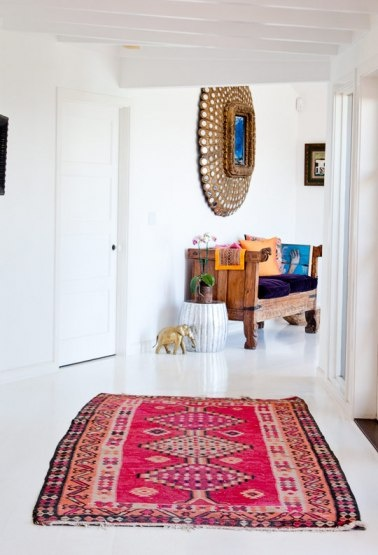 Middle East - inspired hall with simple modern white interiors.  Love.