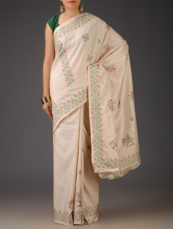 Ivory Silk Kasuti Handwoven Saree - Buy Sarees > Woven Sarees > Ivory Silk Kasuti Handwoven Saree Online at Jaypore.com