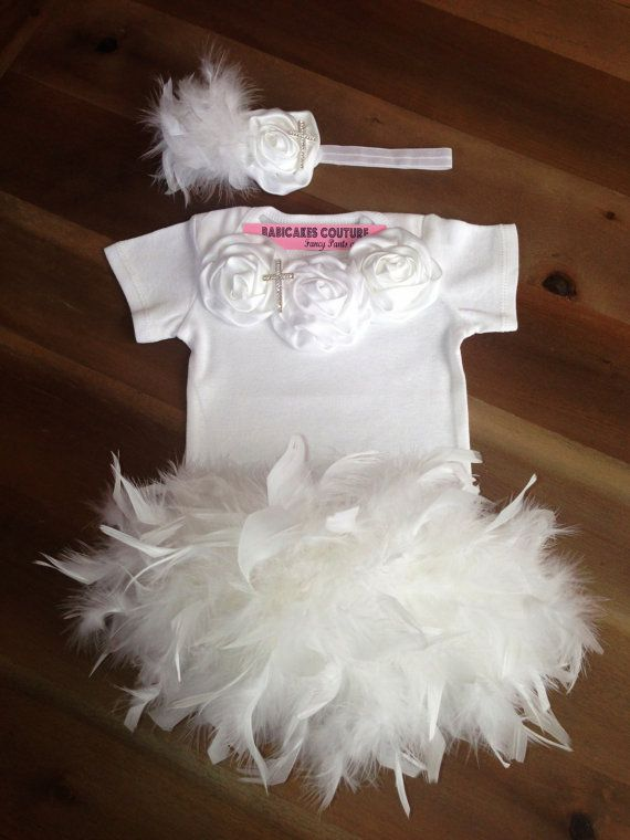 A Babicakes Couture Feather Christening or After Christening Outfit Exclusive Design is back in the shop! Headband and bodysuit adorned with a Beautiful Rhinestone Cross by BabicakesCouture on Etsy