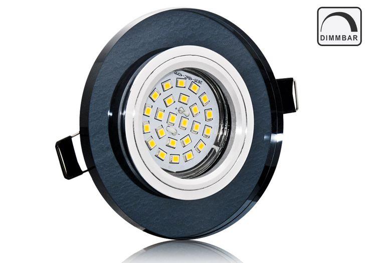 LED Einbaustrahler Set mit Marken GU10 LED Spot Nextec 5 Watt DIMMBAR schwarzes Kristallglas rund 30 Watt Ersatz
