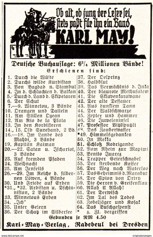 Werbung - Original-Werbung/ Anzeige 1936 - KARL-MAY - VERLAG / RADEBEUL BEI DRESDEN - ca. 65 x 110 mm